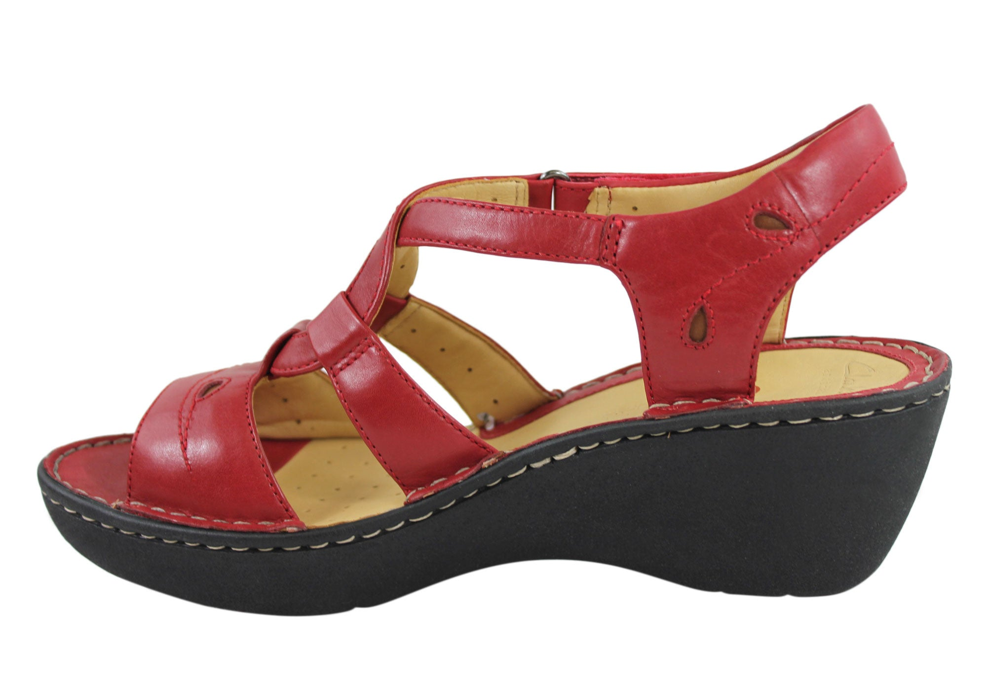 Clarks Un Stern Womens Wedge Heel Leather Sandals