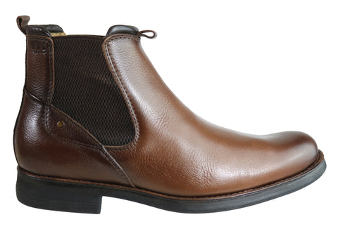 Ferricelli Roy Mens Comfortable Leather Chelsea Boots Made In Brazil