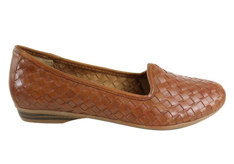 Naturalizer Sandee Womens Comfortable Woven Leather Flats
