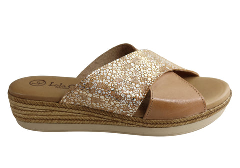 Lola Canales Anita Womens Comfort Leather Slides Sandals Made In Spain