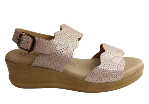 Lola Canales Belinda Womens Comfy Leather Wedge Sandals Made In Spain