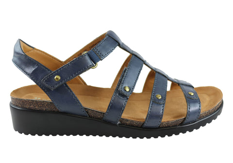Naturalizer Finale Womens Leather Cushioned Comfort Wedge Sandals