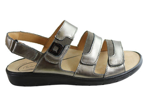 Scholl Orthaheel Arlington Womens Leather Adjustable Strap Sandals