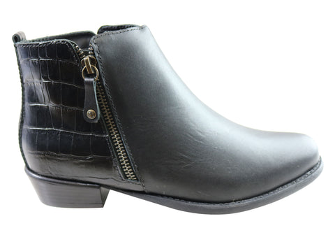 Andacco Town Womens Leather Comfortable Ankle Boots Made In Brazil