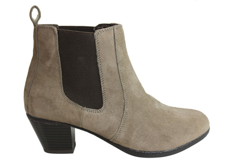 Hush Puppies Georgie HS Womens Fashion Mid Heel Suede Chelsea Boots