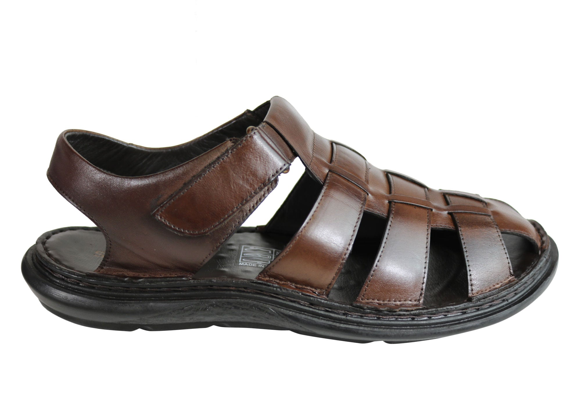 badb787f0fc7 Home Savelli Christopher Mens Leather Closed Toe Sandals Made In Brazil.  Coffee ...