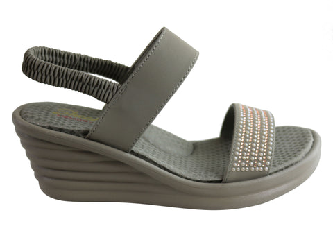 Skechers Womens Rumbler Wave Glam Game Memory Foam Wedge Sandals