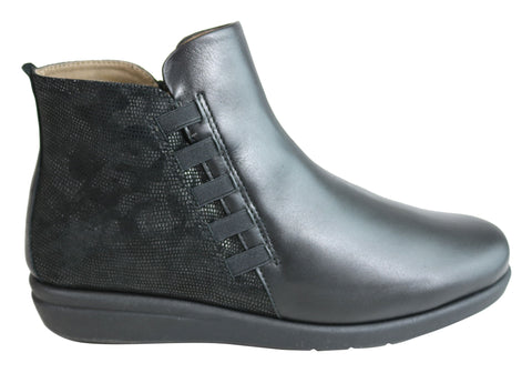 Flex & Go Cora Womens Comfort Leather Ankle Boots Made In Portugal