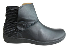 Flex & Go Abigail Womens Comfort Leather Ankle Boots Made In Portugal