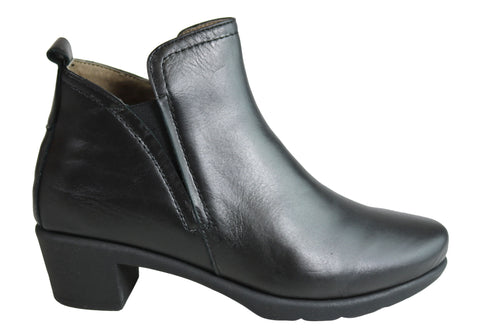 Flex & Go Viva Womens Leather Low Heel Ankle Boots Made In Portugal