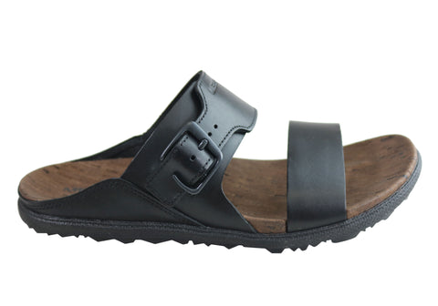 Merrell Womens Comfort Leather Around Town Buckle Slide Flat Sandals