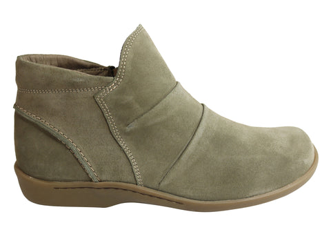 Flex & Go Hazel Womens Comfort Suede Flat Ankle Boots Made In Portugal