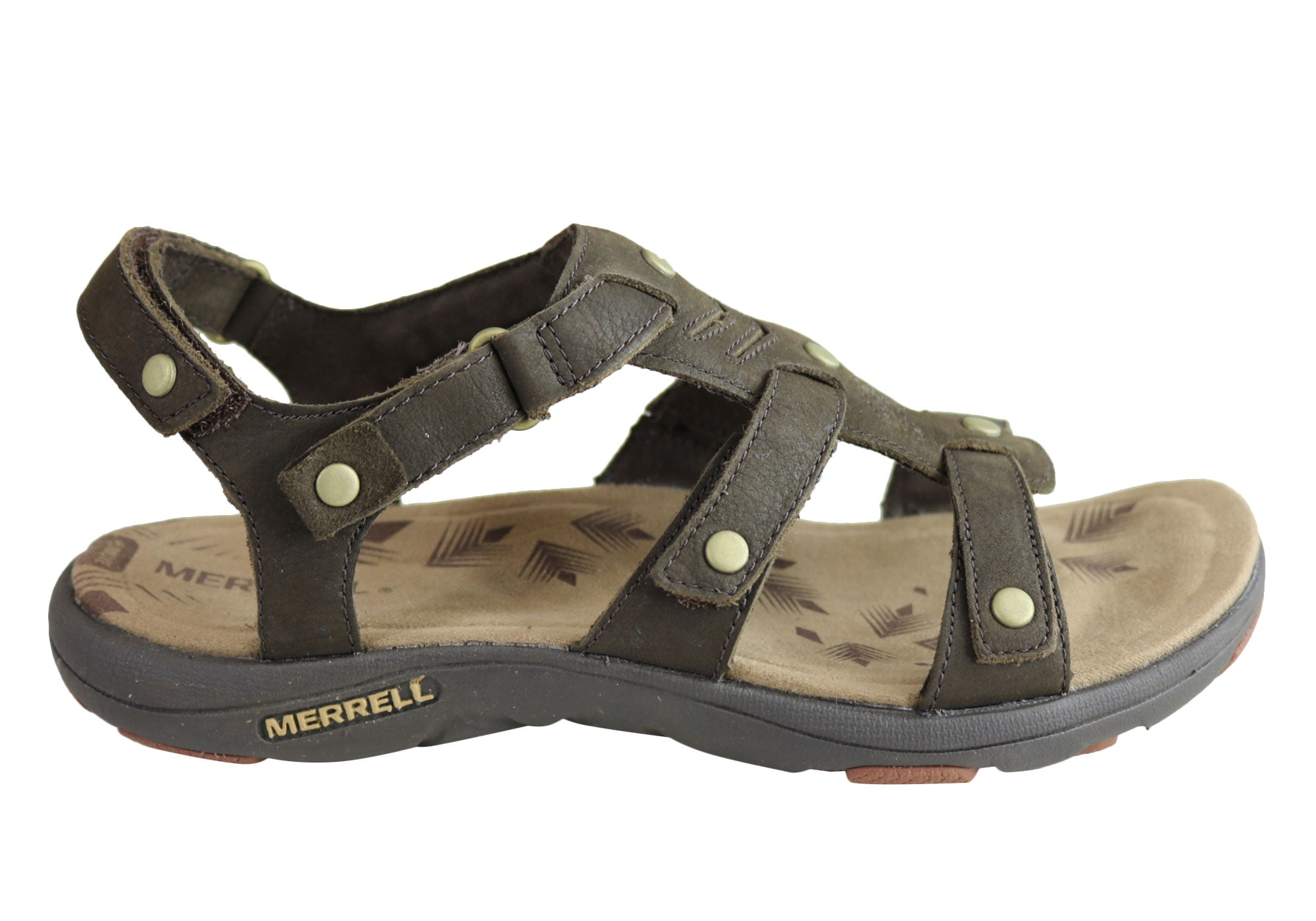 78ba12a6722 Home Merrell Womens Comfort Flat Supportive Adhera Three Strap II Sandals.  Brown ...