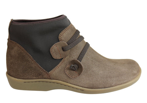 Flex & Go Mia Womens Comfort Flat Suede Ankle Boots Made In Portugal