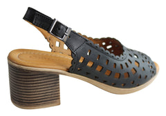 Orizonte Salry Womens European Leather Comfortable Mid Heel Sandals