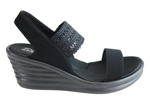 Skechers Womens Rumblers Wave Drama Diva Memory Foam Wedge Sandals