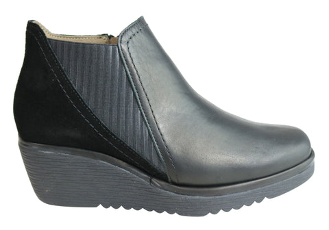 Flex & Go Piper Womens Leather Wedge Ankle Boots Made In Portugal