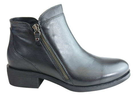 Orizonte Chance Womens European Comfort Low Heel Leather Ankle Boots