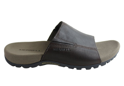 Merrell Mens Sandspur Slide Leather Comfortable Slides Sandals