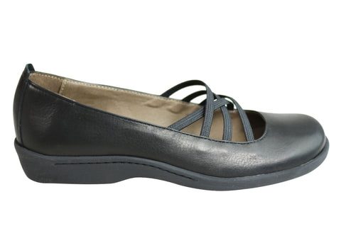Flex & Go Sadie Womens Leather Flat Mary Jane Shoes Made In Portugal