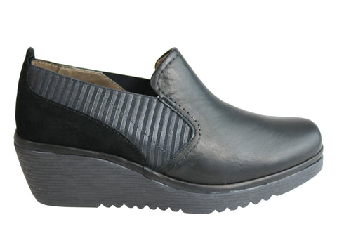Flex & Go Mackenzie Womens Leather Wedge Shoes Made In Portugal