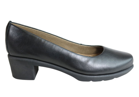 Flex & Go Vista Womens Comfort Leather Low Heel Shoes Made In Portugal