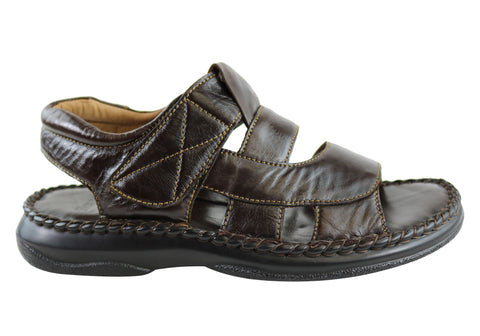 Florence Ethan Mens Comfortable Cushioned Leather Sandals