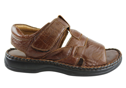 Florence Griffith Mens Comfortable Cushioned Leather Sandals