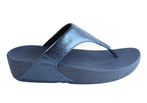 Fitflop Womens Lulu Toe Post Molten Metal Cushioned Thongs Sandals