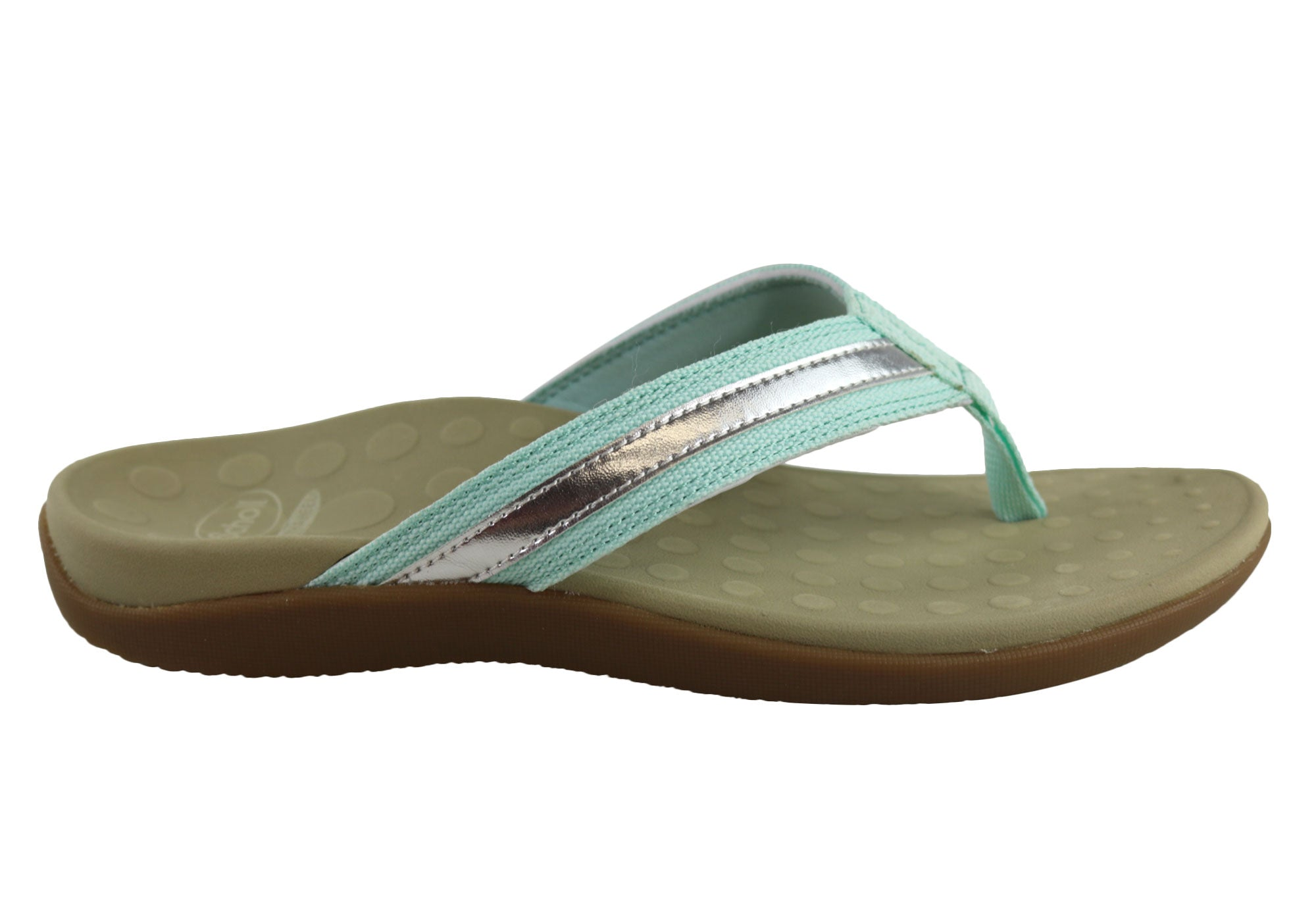 17c9a39d2 Home Scholl Orthaheel Tide II Womens Comfort Orthotic Flip Flop Thongs.  Light Blue Silver ...