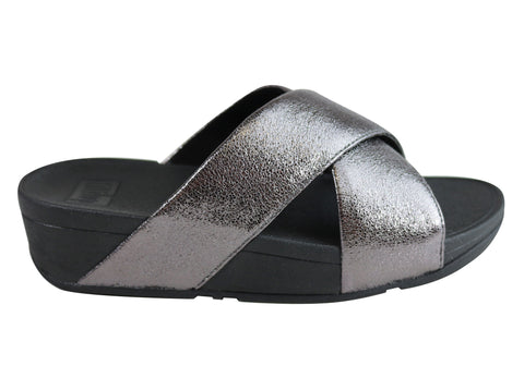 Fitflop Womens Lulu Slide Molten Metal Cushioned Comfort Slide Sandals