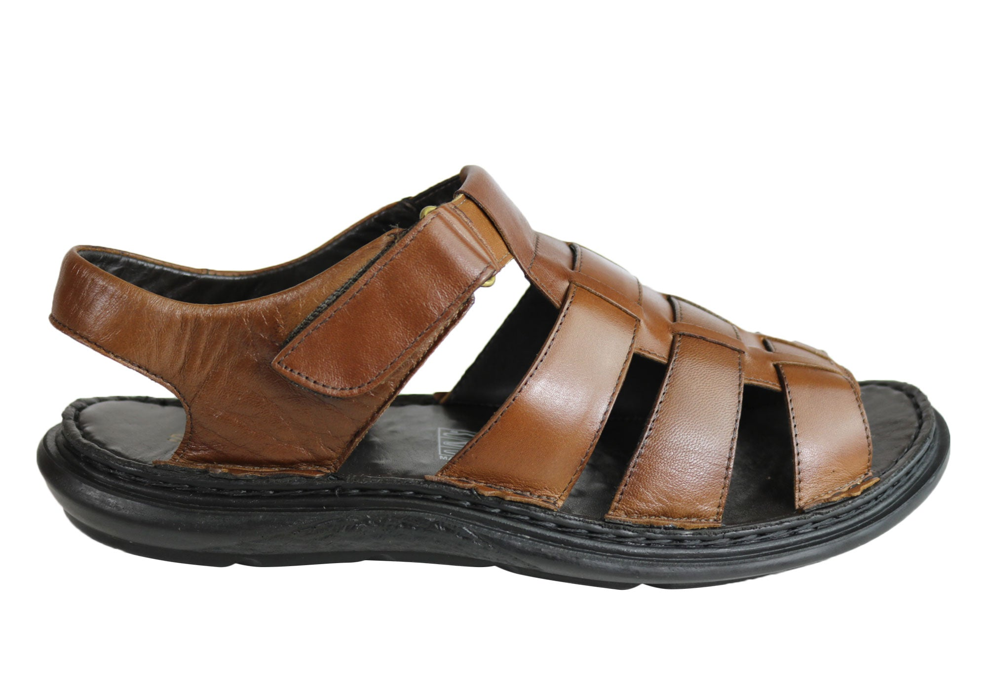9b2240489b61 ... Mens Leather Comfortable Cushioned Sandals Made In Brazil. Brown ...