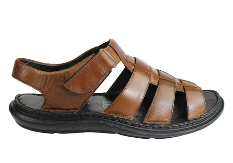 Savelli Kain Mens Leather Comfortable Cushioned Sandals Made In Brazil