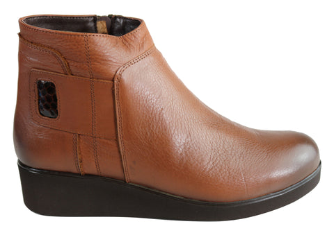 Orizonte Madeline Womens European Comfortable Leather Ankle Boots
