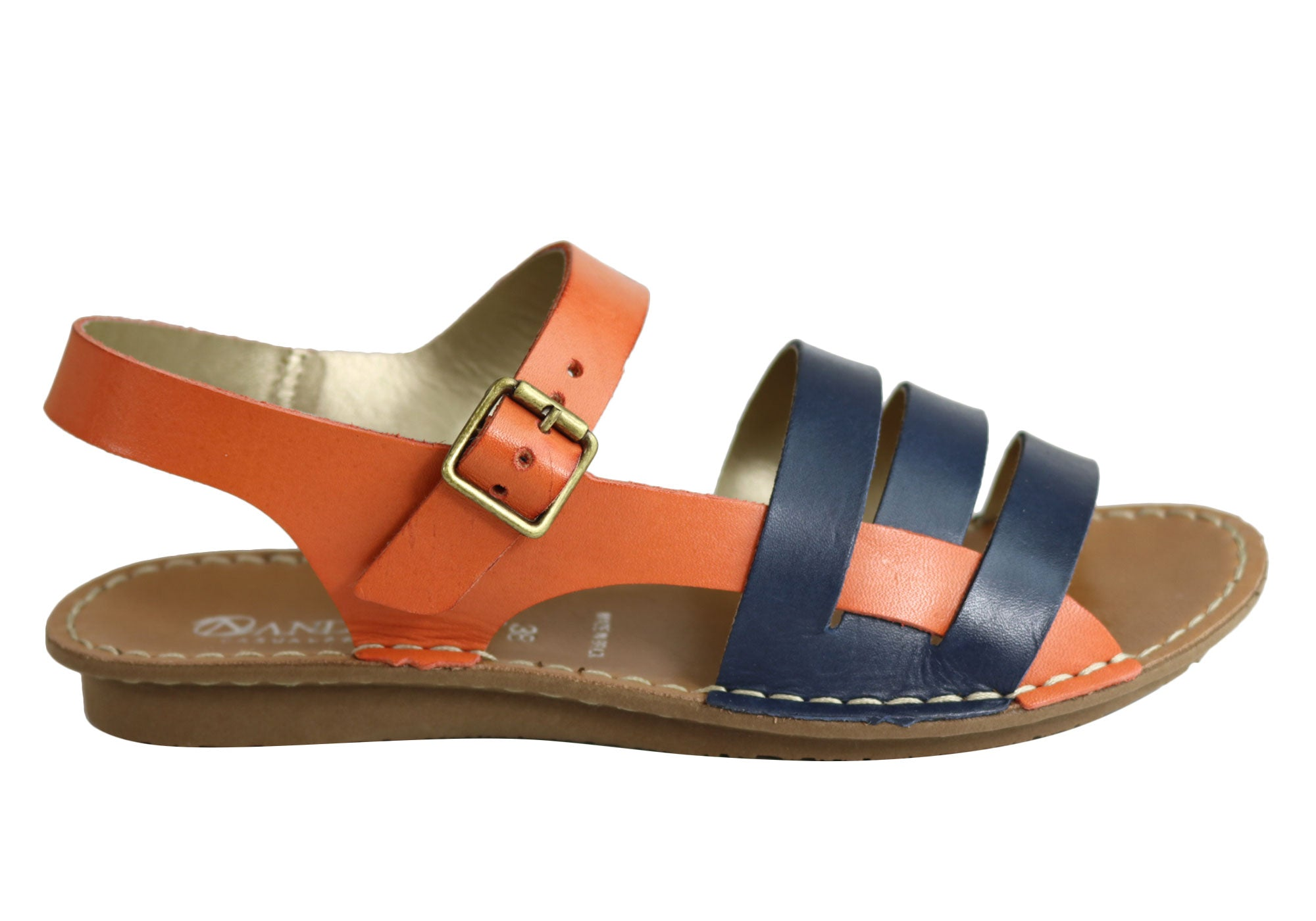9de4250a8e7d Home Andacco Aprili Womens Comfortable Flat Leather Sandals Made In Brazil.  Navy Orange  Tan Multi ...