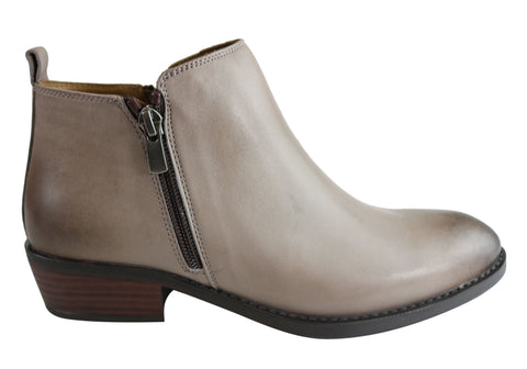 Orizonte Nelly Womens European Comfort Low Heel Leather Ankle Boots