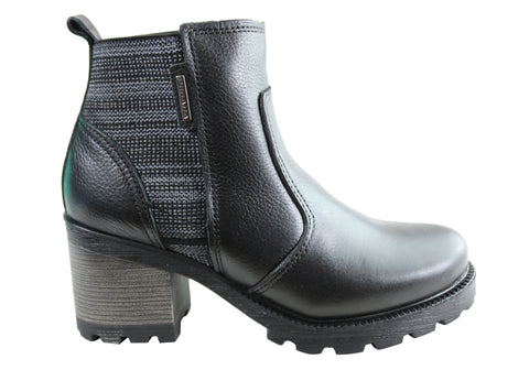 Pegada Stormie Womens Mid Heel Leather Ankle Boots Made In Brazil
