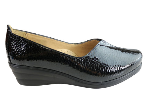 Orizonte Arlene Womens European Comfortable Patent Leather Wedge Shoes