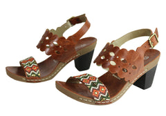 Andacco Moonshine Womens Leather Comfy Mid Heel Sandals Made In Brazil