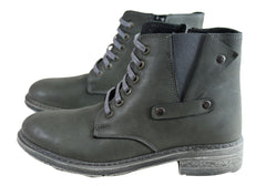Cabello Comfort 6307-65 Womens Leather Ankle Boots Made In Turkey