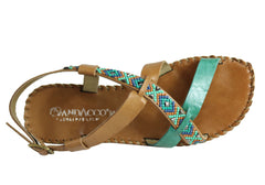 Andacco Shine Womens Comfort Flat Leather Sandals Made In Brazil