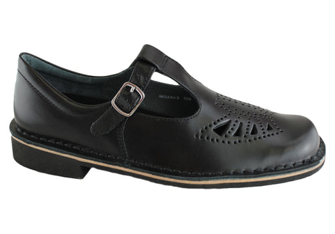 Harrison Indiana II T-Bar Senior and Youths Leather School Shoes