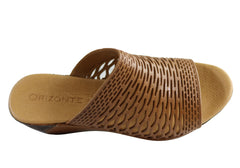 Orizonte Ashley Womens European Leather Comfort Wedge Slide Sandals