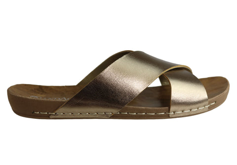 Andacco Hilly Womens Comfort Flat Leather Slide Sandals Made In Brazil