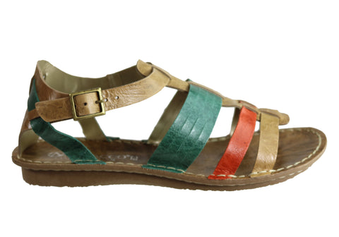 Andacco Augustine Womens Comfort Flat Leather Sandals Made In Brazil