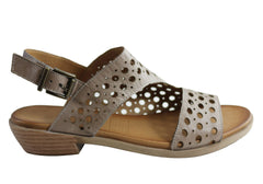 Orizonte Cinda Womens European Comfortable Leather Low Heel Sandals