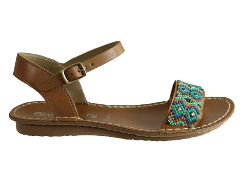Andacco Roma Womens Comfortable Flat Leather Sandals Made In Brazil