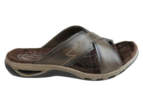 Pegada Jerry Mens Leather Comfy Cushioned Slide Sandals Made In Brazil