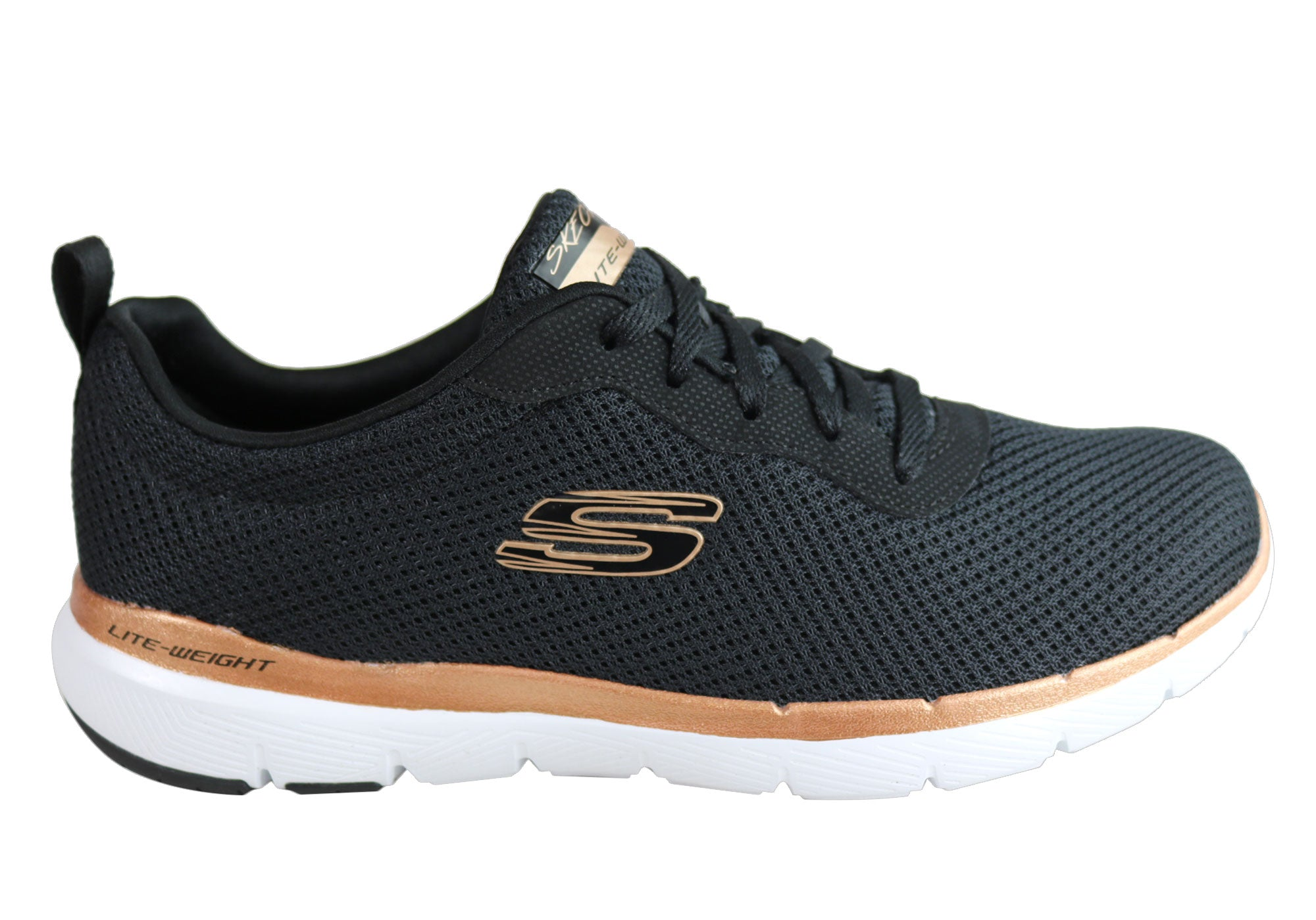 15e0430f Home Skechers Womens Flex Appeal 3.0 First Insight Comfy Memory Foam Shoes.  Black/Rose Gold ...
