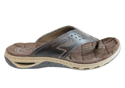 Pegada Teri Mens Leather Comfy Cushioned Thongs Sandals Made In Brazil